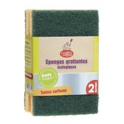 Eponges grattantes vertes écologiques x2