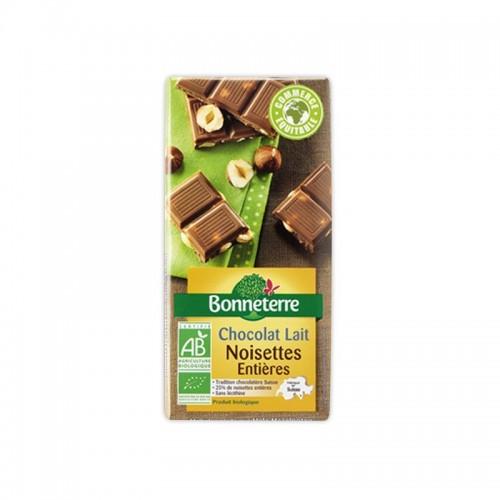 CHOCOLAT LAIT NOISETTES ENTIERES 100g